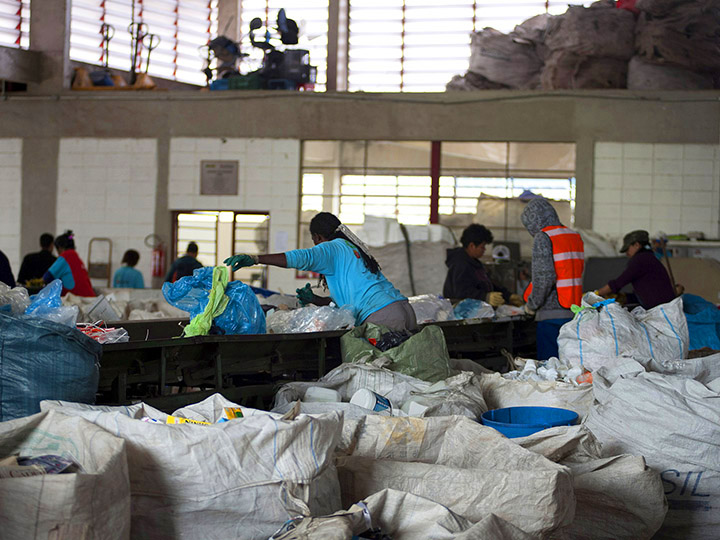Photo from Instituto S.O.S. - Workers organize recyclable waste at a recycling center